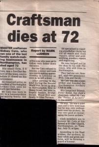 Newspaper Cutting announcing the death of Sid Cato 1993